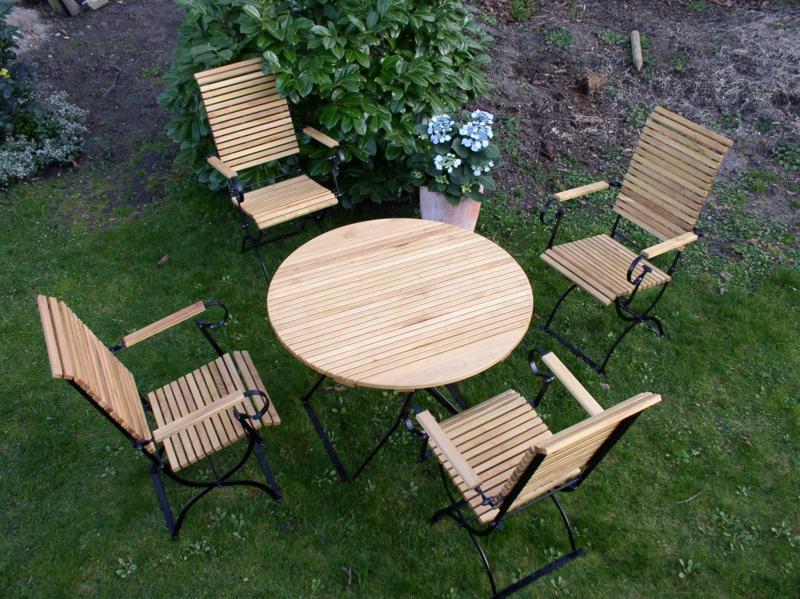 wetterfeste gartenmöbel | runder tisch | metall-robinienholz, Esszimmer dekoo